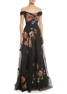 Marchesa Off-the-Shoulder Embroidered Silk Organza Ball Gown