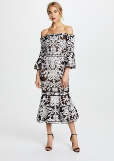 Marchesa Notte Off the Shoulder Guipure Cocktail Dress