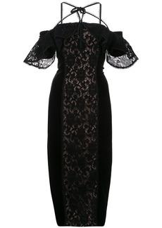 Marchesa Notte off-the-shoulder lace dress - Black