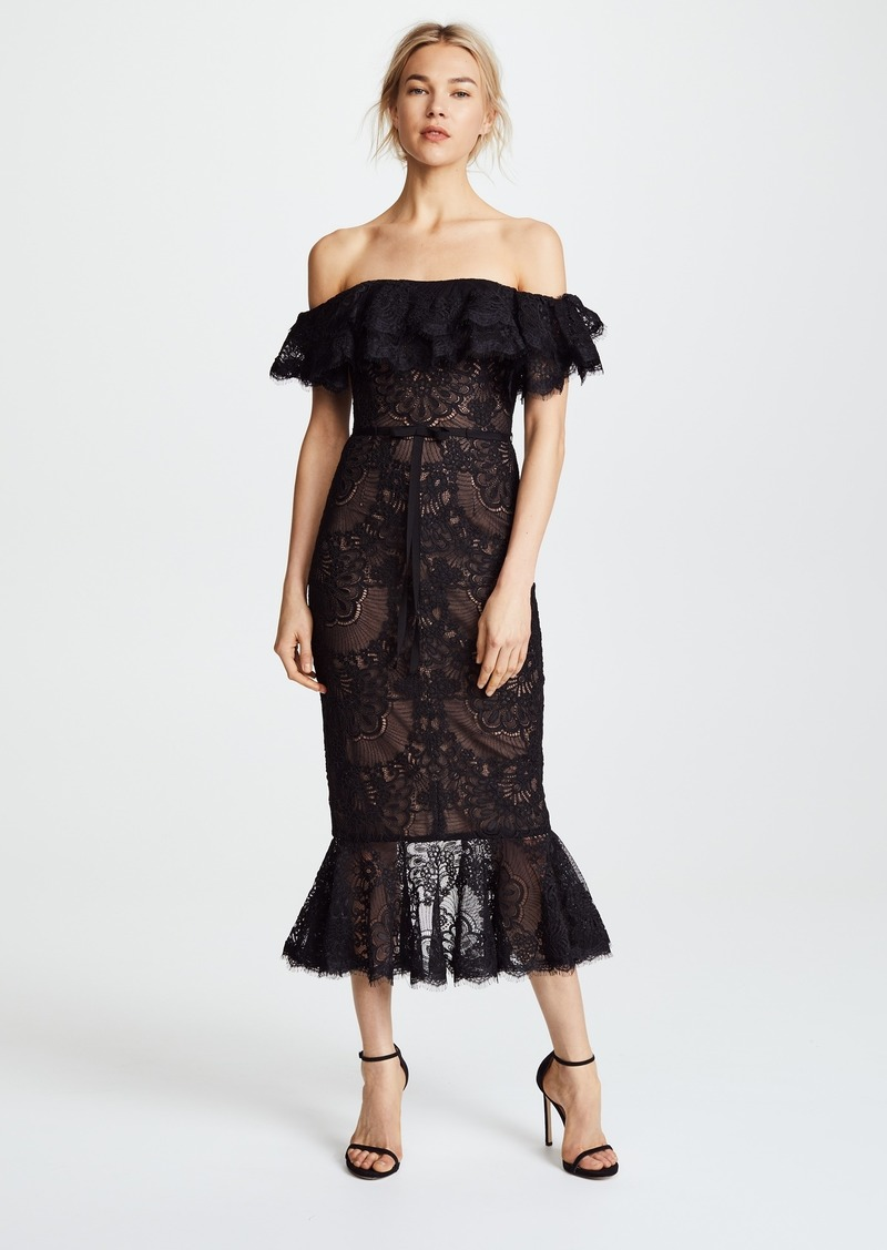 Marchesa Notte Off The Shoulder Lace Ruffle Tail Dress