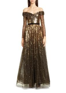 Marchesa Notte Off the Shoulder Long Sleeve Ombré Sequin Gown