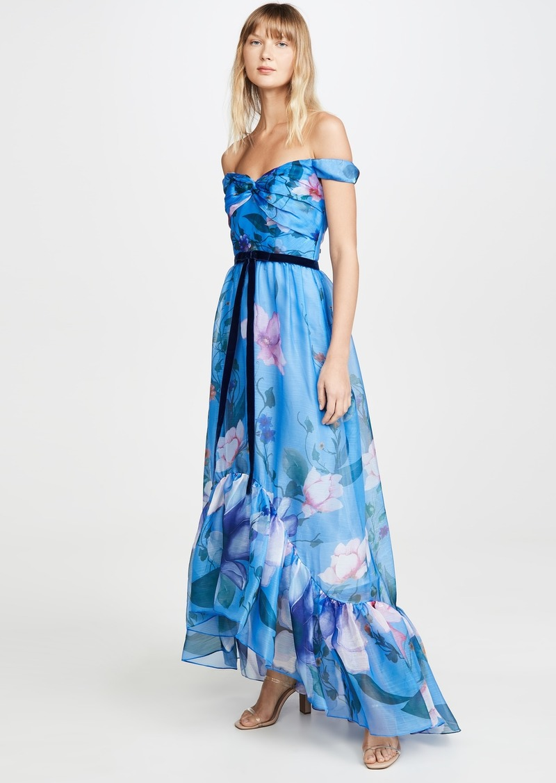 Marchesa Notte Off the Shoulder Organza High Low Gown