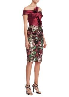 Marchesa Notte Off-The-Shoulder Satin Bow Dress