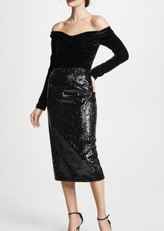 Marchesa Notte Off the Shoulder Sequin Skirt Cocktail Dress