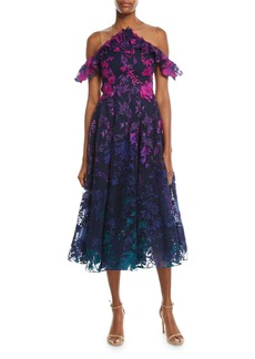 Marchesa Notte Ombré Floral Cold-Shoulder Embroidered Cocktail Dress