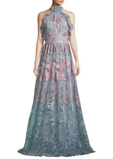 Marchesa Notte Ombré Floral Embroidered Halter Gown