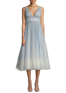 Marchesa Ombré Pleated Tulle Tea-Length Cocktail Dress