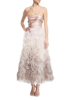 Marchesa Notte Ombré Textured Tea Dress w/ Draped Bodice