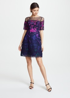 Marchesa Notte Ombre Cocktail Dress with Floral Embroidery