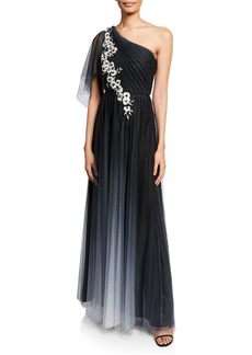 Marchesa Notte Ombre One-Shoulder Flutter-Sleeve Tulle Gown w/ Floral-Embroidered Appliques