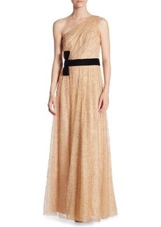 Marchesa One-Shoulder Bow Tie Gown
