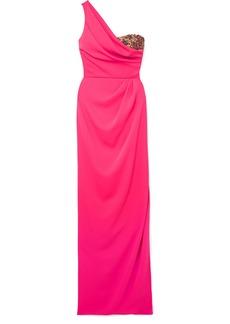 Marchesa One-shoulder embellished tulle-trimmed crepe gown