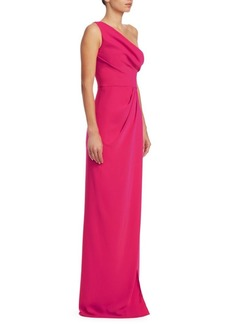 Marchesa Notte One-Shoulder Wrap Dress