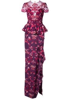 Marchesa Notte peplum floral gown - Pink & Purple