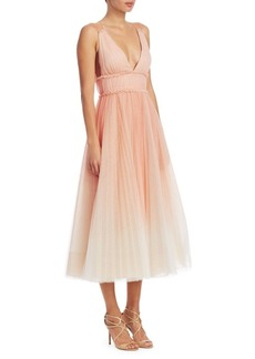 Marchesa Notte Pleated Cold-Shoulder Gown