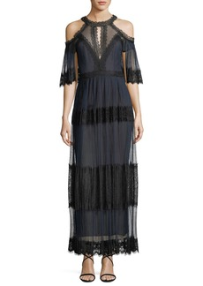 Marchesa Pleated Cold-Shoulder Tiered Lace Cocktail Dress