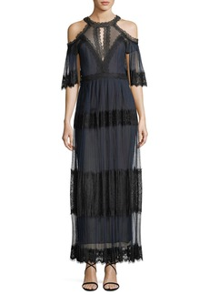 Marchesa Notte Pleated Cold-Shoulder Tiered Lace Cocktail Dress