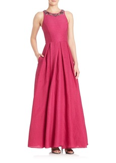 Marchesa Notte Pleated Silk Blend A-Line Gown
