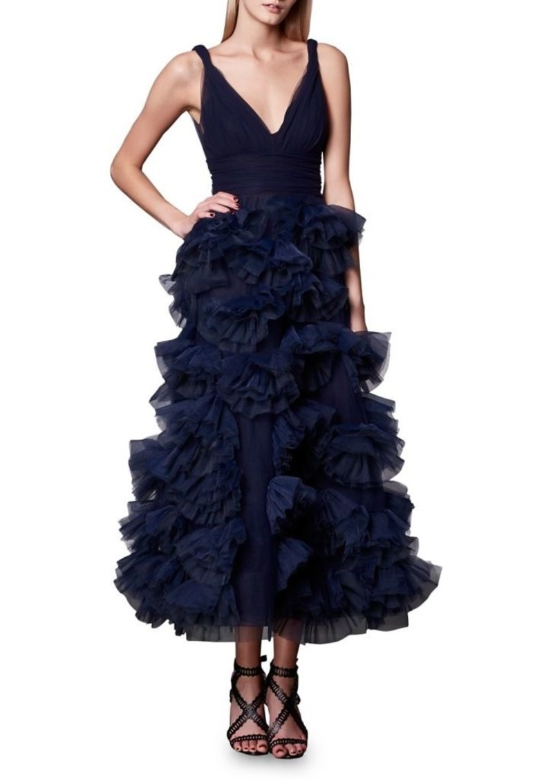 be79ee75 SALE! Marchesa Marchesa Notte Plunging Tulle Ball Gown