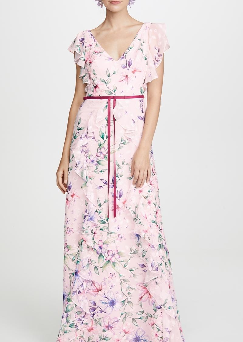 Marchesa Notte Printed Burnout Chiffon Gown