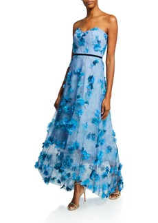 Marchesa Notte Printed Strapless High-Low Gown with 3D Flower Degrade