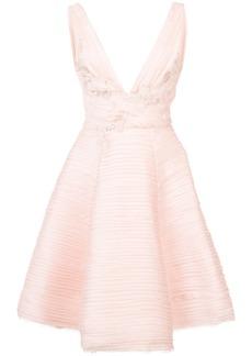 Marchesa Notte ruche detail asymmetric dress - Pink & Purple