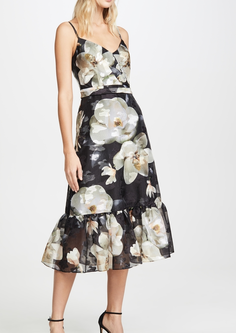 Marchesa Notte Ruffle Hem Cocktail Dress
