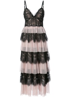 Marchesa Notte ruffle lace dress - Pink & Purple
