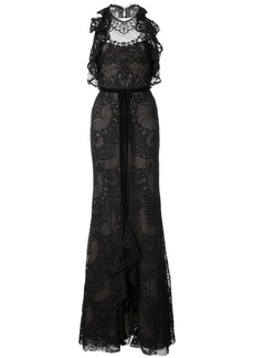 Marchesa Notte ruffled guipure lace gown - Black