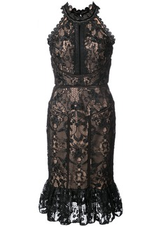 Marchesa Notte ruffled hem guipure lace dress - Black