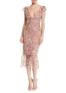 Marchesa Sequin Embroidered Flutter-Sleeve Cocktail Dress