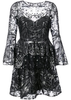 Marchesa Notte sequin embroidered tulle dress - Black