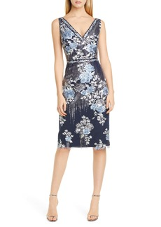 Marchesa Notte Sequin Floral Embroidered Tulle Cocktail Dress