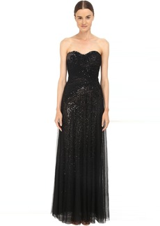 Marchesa Sequin Gown w/ Draped Tulle Overlay