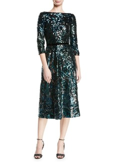 Marchesa Sequin Tea-Length Cocktail Dress w/ Velvet Trim