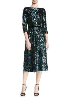 Marchesa Notte Sequin Tea-Length Cocktail Dress w/ Velvet Trim