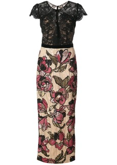 Marchesa Notte sequined lace column gown - Black