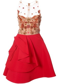Marchesa Notte sheer embellished ruffle dress - Red