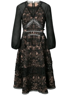 Marchesa Notte sheer sleeve flared dress - Black
