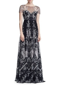 Marchesa Notte Short-Sleeve Embellished Illusion Neck Gown
