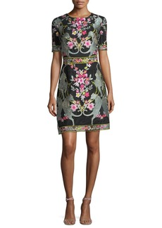 Marchesa Notte Short-Sleeve Embroidered Mini Cocktail Dress