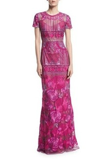 Marchesa Notte Short-Sleeve Embroidered Tulle Evening Gown