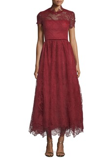 Marchesa Short-Sleeve Lace Appliqué Tea-Length Dress