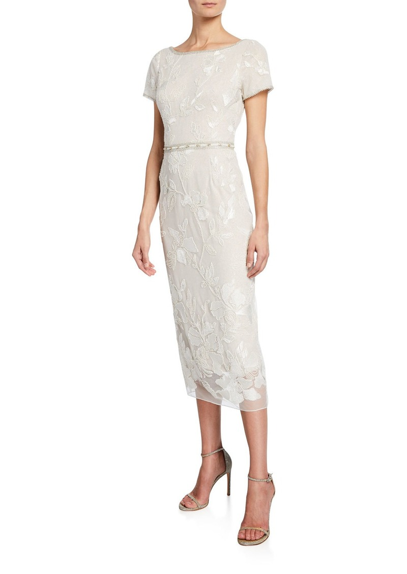 0b00c3cc Marchesa Notte Short-Sleeve Metallic Floral Embroidered Sheath Dress w/  Beaded Trim