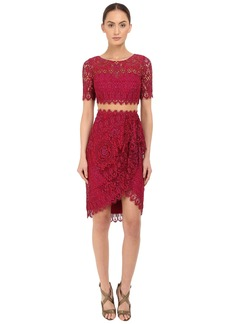 Marchesa Notte Short Sleeve Re-Embroidered Lace Cocktail with Draped Skirt and Sheer Waist