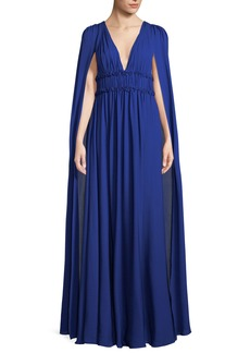 Marchesa Notte Silk Georgette V-Neck Cape Gown