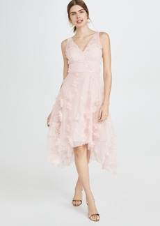 Marchesa Notte Sleeveles Metallic Embroidered Cocktail Dress