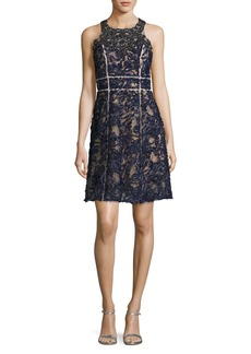 Marchesa Notte Sleeveless Beaded Lace Cocktail Dress
