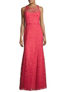 Marchesa Notte Sleeveless Beaded Lace Illusion Gown