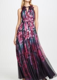Marchesa Notte Sleeveless Chiffon Gown